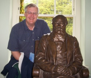 Harold at Down House with Darwin's statue.